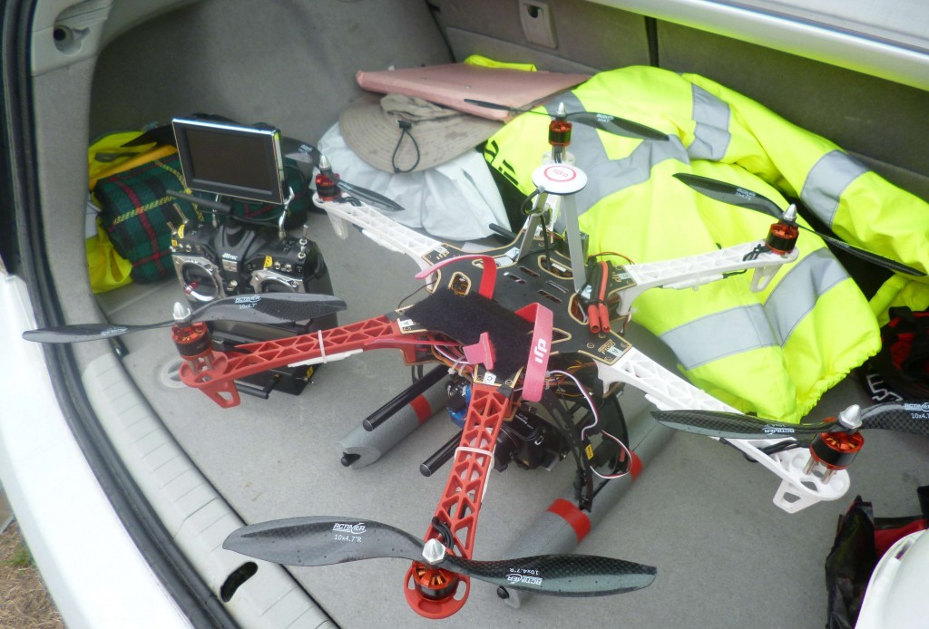 Quodcopter and camera rig used for low level aerial photographyQuodcopter and camera rig used for low level aerial photography