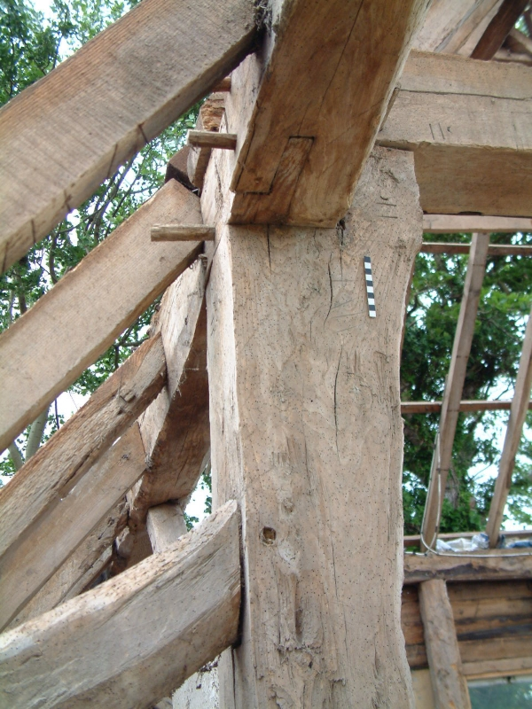 Complex joinery in the upper structure of a large timber framed barn