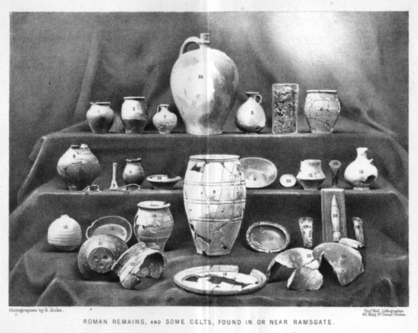 Photograph of artefacts from the Ramsgate area published by Robert Hicks MRCS in 1878