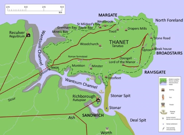 Reconstructed map of Roman Thanet
