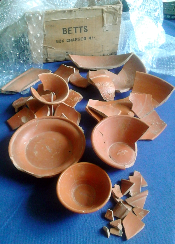 Box stores Roman samian vessels from Drapers Mills, Margate