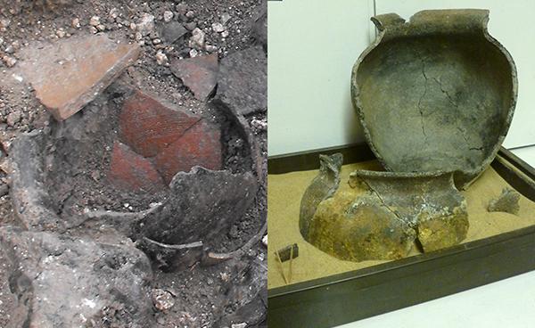 Large Roman jar undergoing reconstruction.