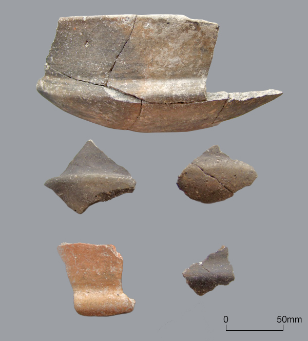 Early to Mid Iron Age fineware bowl with moulded shoulder, with sherds from similar vessels