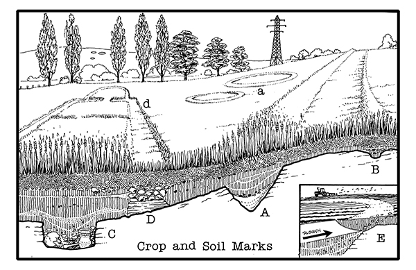 How Crop and Soil Marks are formed illustrated by D. R. J. Perkins.
